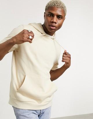 ASOS DESIGN organic short sleeve hoodie in beige