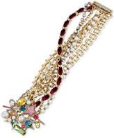 Betsey Johnson Gold-Tone Multi-Stone, Imitation Pearl and Woven Burgundy Velvet Ribbon Bracelet