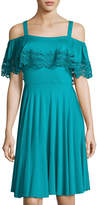 Neiman Marcus Lace-Trim Cold-Shoulder Flounce Dress