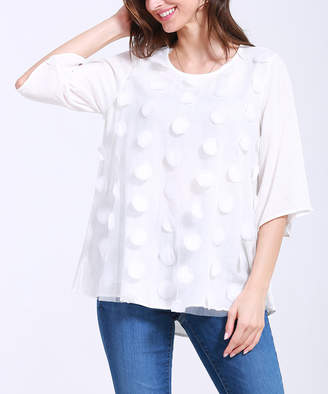 Couture Simply Women's Tunics WHITE - White Polka Dot Flutter-Sleeve Tunic - Women & Plus