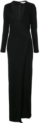 Galvan Long-Sleeve Fringed Wrap Dress