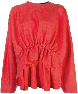Derek Lam Long Sleeve Linen Blouse with Gathered Waist Detail