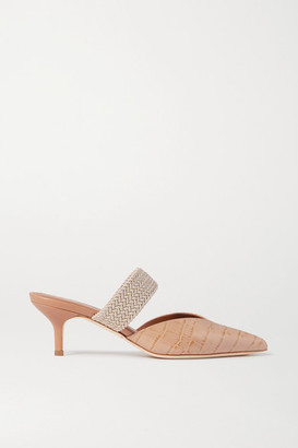Malone Souliers Maisie 45 Cord-trimmed Croc-effect Leather Mules - Neutral