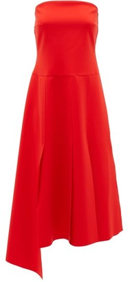 A.W.A.K.E. Mode Strapless Pleated Crepe Dress - Red