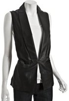 black leather and lace back long vest