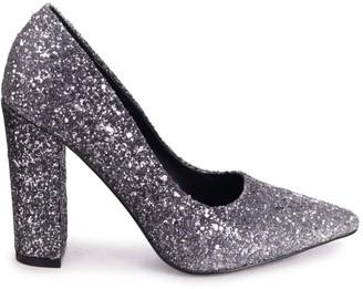 Linzi TIFFANY - Silver Ombre All Over Heavy Glitter Block High Heel Heel Court Shoe