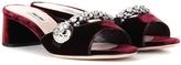 Miu Miu Embellished Velvet Sandals