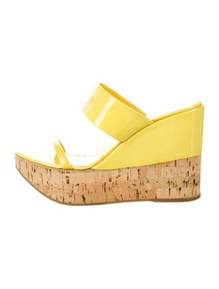Prada Patent Leather Colorblock Pattern Slides Yellow