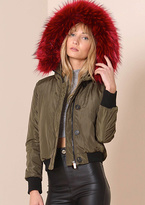 Missy Empire Stella Wine Faux Fur Hood Bomber Jacket