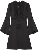 Elie Saab Guipure Lace-paneled Crepe Mini Dress - Black
