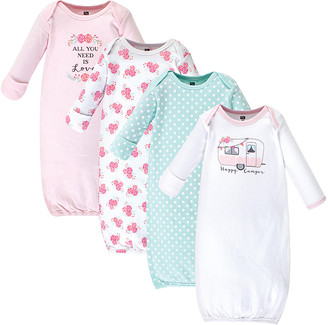 Hudson Baby Girls' Infant Gowns Pink - Pink & Aqua 'Happy Camper' Gown - Set of Four
