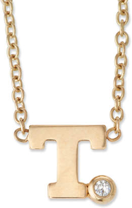 Chicco Zoe 14k Pave Initial Pendant Necklace with 0.01 Diamond