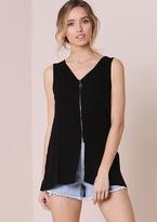 Missy Empire Hailey Black Zip Up Split Detail Sleeveless Top