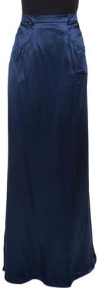 Roberto Cavalli Navy Blue Silk Satin Maxi Skirt L