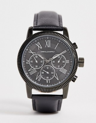 Asos Design DESIGN oversized watch with subdial detail in black leather