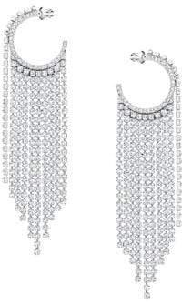 Swarovski Rhodium-plated and Crystal Fit Hoop Earrings