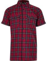 River Island Boys red check short sleeve shirt