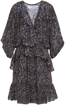 IRO Ruffled Printed Wool-twill Mini Dress