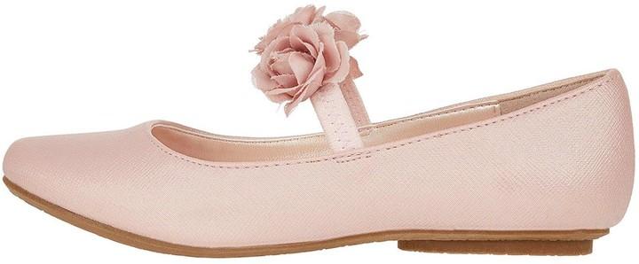 Monsoon Dora Corsage Strap Ballerina Shoes - Pale Pink
