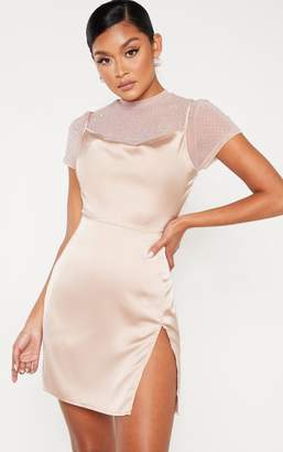 PrettyLittleThing Rose Satin Cowl Mesh Diamante 2 in 1 Bodycon Dress