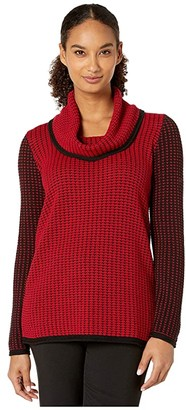 Calvin Klein Mixed Stitch Sweater with Cowl Neckline (Rouge/Black) Women's Clothing