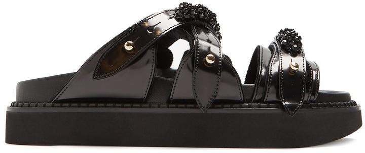 Simone Rocha Embellished leather slides