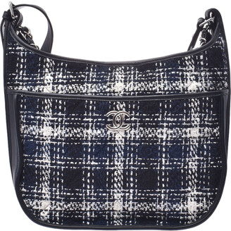 Chanel Black/Navy Blue Tweed And Calf Leather Shoulder Bag