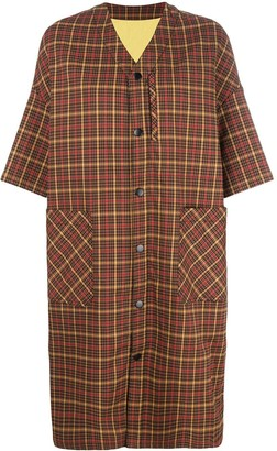 Neul checked short sleeved coat