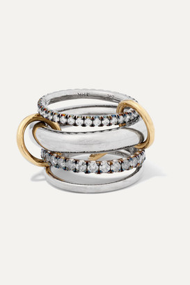 Spinelli Kilcollin Cassini Set Of Four 18-karat Blackened And Yellow Gold And Sterling Silver Diamond Rings - 6