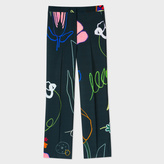 Paul Smith Women's Parallel Leg Trousers With 'Crayon Floral' Print
