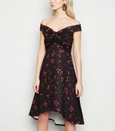 New Look Mela Heart Print Knot Front Midi Dress