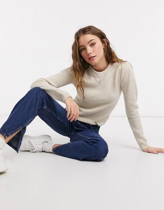 Bershka shoulder pad jumper in beige