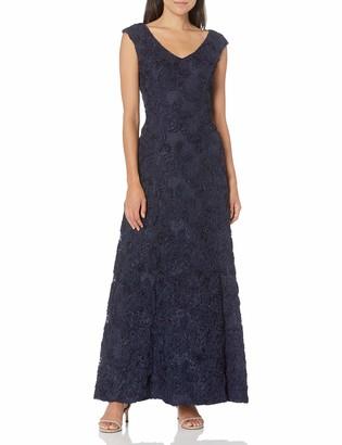 Alex Evenings Women's 10 Long A-Line Rosette Dress with Short Sleeves Sequin Detail