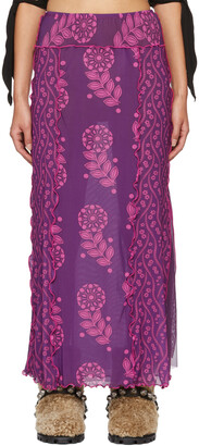 Anna Sui Purple Mesh Posies & Pop Flowers Skirt
