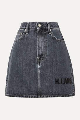 Helmut Lang Femme Embroidered Denim Mini Skirt - Dark denim