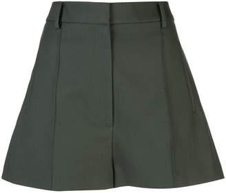 KHAITE creased flared shorts