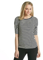 Chaus Ruched Sleeve Striped Top