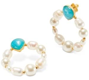 Kate Spade Gold-Tone Semi-Precious Stone & Imitation Pearl Door Knocker Earrings