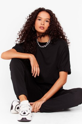 Nasty Gal Womens Comfort is Key Relaxed Tee and Jogger Set - Black - 6