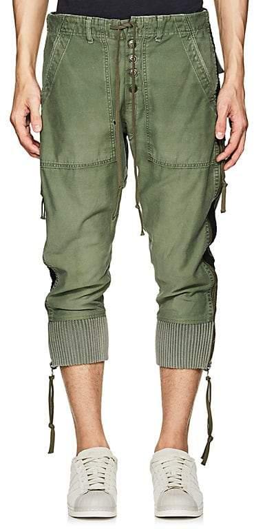 Greg Lauren Men's Grosgrain-Striped Cotton-Blend Lounge Pants