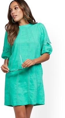 New York & Co. Crochet-Trim Puff-Sleeve Linen Blend Dress
