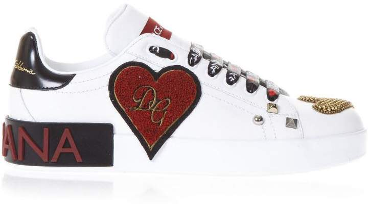 Dolce & Gabbana Embellished White Leather Sneakers