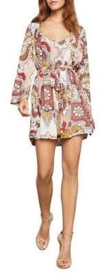 BCBGMAXAZRIA Grand Paisley Long-Sleeve Wrap Dress