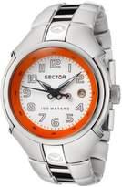 Sector 195 Series Women's Watch Analogue Quartz with Date, Orange/White Dial and Aluminium Bracelet - R3253195045