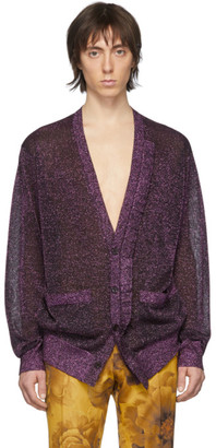 Dries Van Noten Purple Metallic Ruffle Cardigan