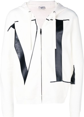 Valentino letters print zipped hoodie