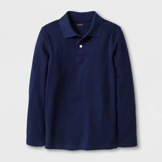 Cat & Jack Boys' Adaptive Long Sleeve Polo Shirt - Cat & JackTM Navy