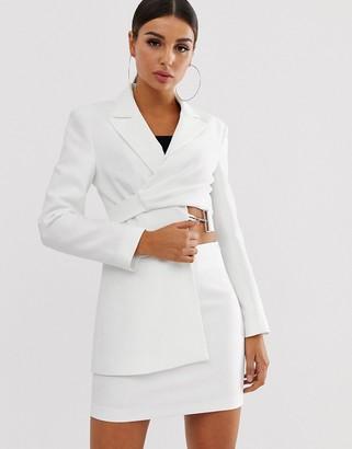 Asos Design DESIGN asymmetric suit blazer in white