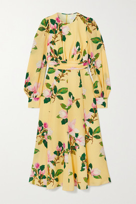 Andrew Gn Floral-print Silk Crepe De Chine Midi Dress - Pastel yellow