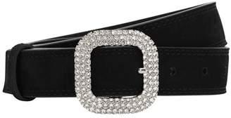 Swarovski Kate Cate 30mm Suede Belt W Crystals